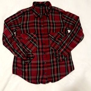 Sanctuary boyfriend holiday plaid shirt XS